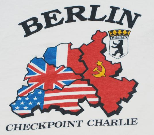 Vintage Checkpoint Charlie Berlin Germany Cold War T Shirt