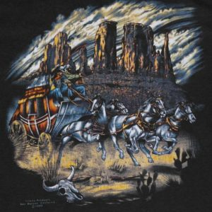 VTG 1980's 3D Emblem Wagon Train COWBOY Soft Thin T-Shirt