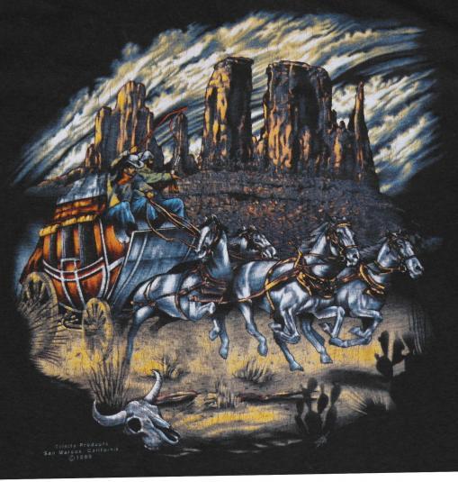 VTG 1980's 3D Emblem Wagon Train COWBOY Soft Thin T-Shirt