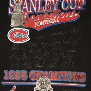VTG 1993 Montreal Canadiens Stanley Cup Champions T-Shirt