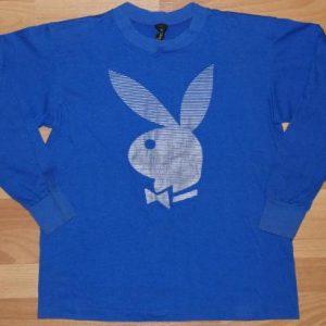 Vintage 1980s Playboy Bunny Blue Logo Long Sleeve Shirt