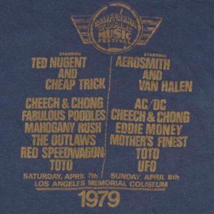VTG 1979 California Music Festival T-Shirt Van Halen AC/DC