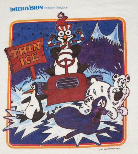 VTG 1980s INTELLIVISION Thin Ice Penguin Video Game T-Shirt