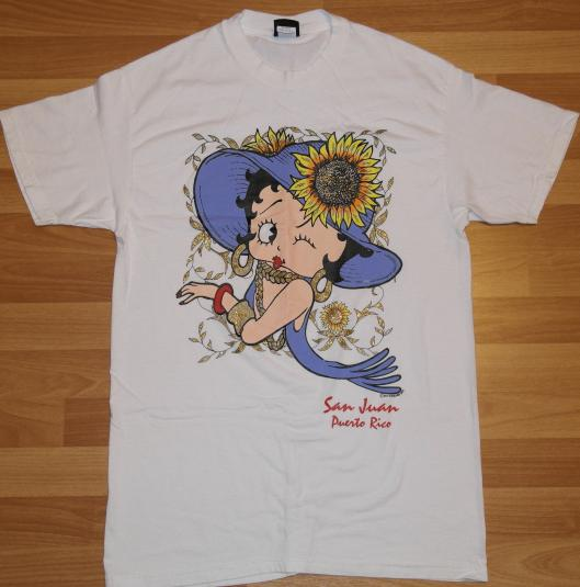 Vintage 1990s BETTY BOOP Sunflower T-Shirt Sparkles 90s