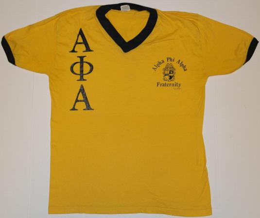 Vintage 1970s Apha Phi Alpha Fraternity Cornell T-Shirt