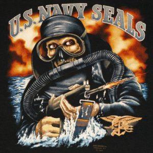 Vintage 1980's 3D Emblem USA Navy Seals T-Shirt