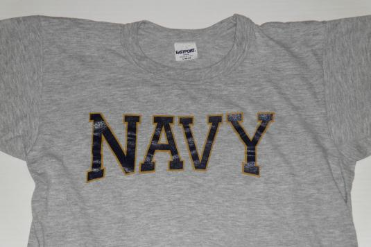 Vintage Soft Thin United States NAVY USN Grey Gray T-Shirt