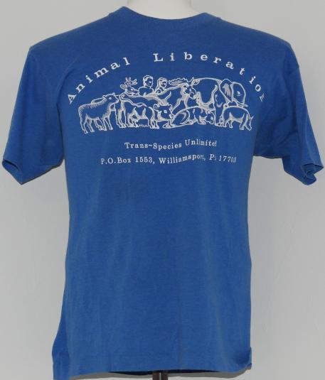 Vintage 1980's ANIMAL LIBERATION Animal Rights Blue T-Shirt