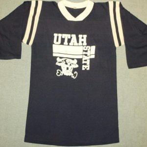 Vintage Utah State Football Jersey Style Shirt 3/4 Sleeve