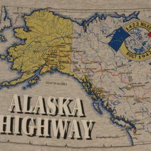 Vintage 1990s Alaska Highway Map T-Shirt 90s