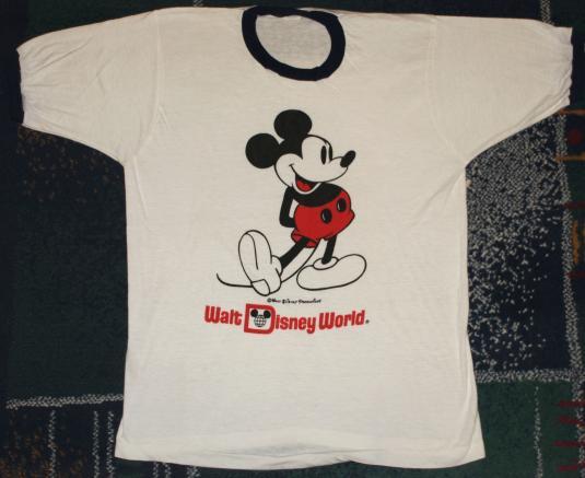VIntage 1980s Mickey Mouse Walt Disney World Ringer T-Shirt