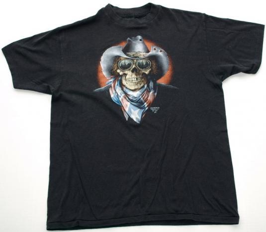 Vintage 1980s 3D Emblem Cowboy Skull Biker Shirt Black