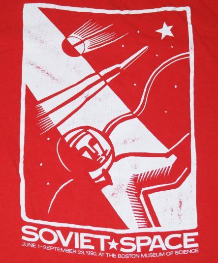 Vintage 1990 Soviet Union Cosmonaut USSR Red T-Shirt 90s
