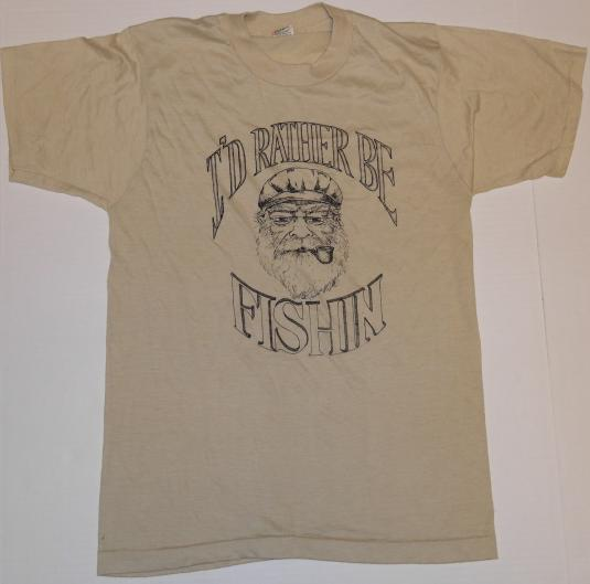 VINTAGE 80s I'd Rather Be Fishing Screen Stars Soft T-Shirt
