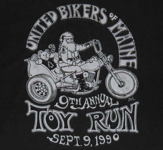 Vintage 1990 United Bikers of Maine Santa Claus T-Shirt