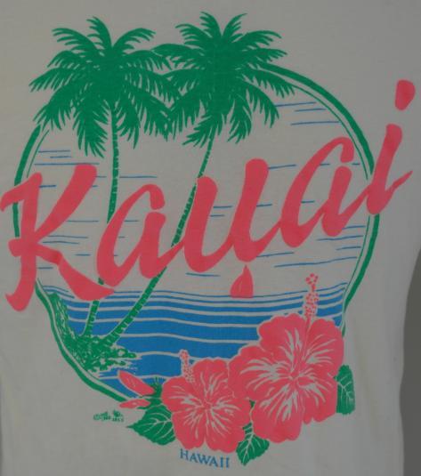 Vintage 1980s KAUAI Hawaii Yellow Beach Palm Trees