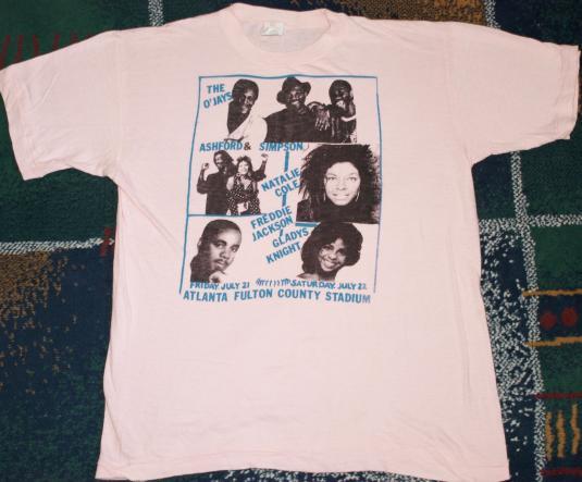 Vtg 1980s R&B Soul Concert T-Shirt The O'JAYS Gladys Knight