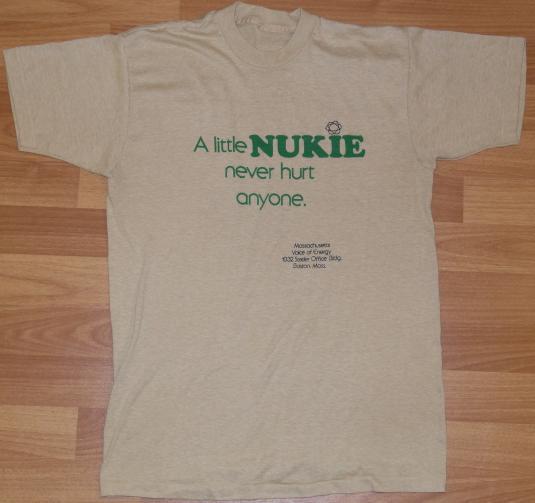 Vintage 1980s NUKE Nuclear Boston Mass Soft Thin T-Shirt 80s