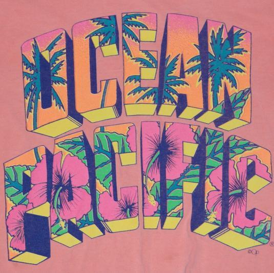 VTG 1980s OCEAN PACIFIC OP Half Belly Surfing Beach T-Shirt