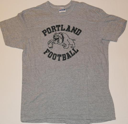 Vintage 1980s PORTLAND BULLDOGS Football Maine T-Shirt