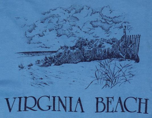 Vintage 1980s Virginia Beach Light Blue Soft Thin T-Shirt