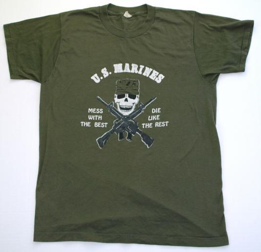 Vintage 1980s US MARINES Skull Twin Guns Shirt