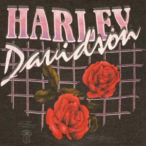 Vintage 1980s Harley Davidson 3D Emblem Roses t-shirt