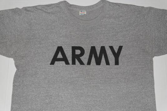 Vintage 1980s CHAMPION Brand US ARMY Heather Grey T-Shirt