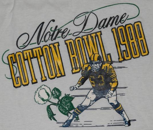 VTG 80s NOTRE DAME Cotton Bowl Football T-Shirt NEVER WORN