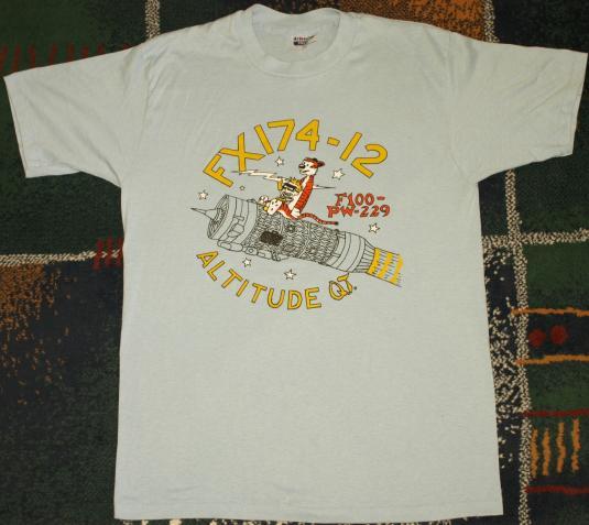 Vtg 1980s Calvin Hobbes F16 Jet Engine Lightening T-Shirt
