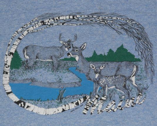 VTG 1990 MAINE Puffy Print Wildlife Deer Heathered T-Shirt