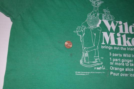 Vintage 1980s Wild Mike Drinking Alcohol Novelty T-Shirt