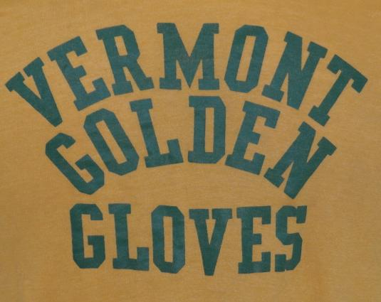 Vintage 1970s VERMONT GOLDEN GLOVES BOXING Yellow T-Shirt