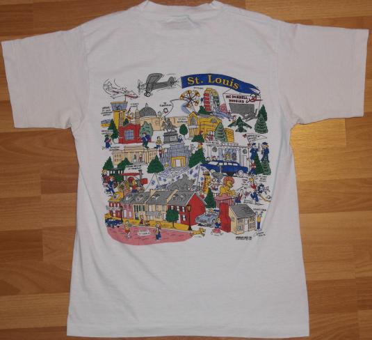 Vintage 1991 ST LOUIS City Art Cartoon Tourist T-Shirt