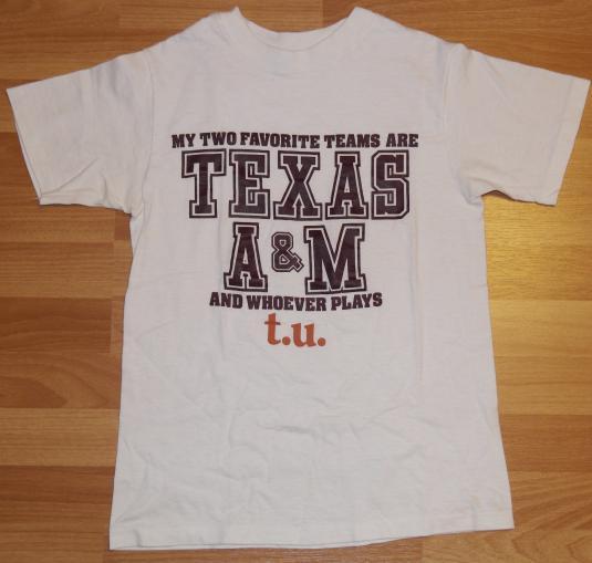 Vintage 1980s TEXAS A&M Aggies College Football TU T-Shirt