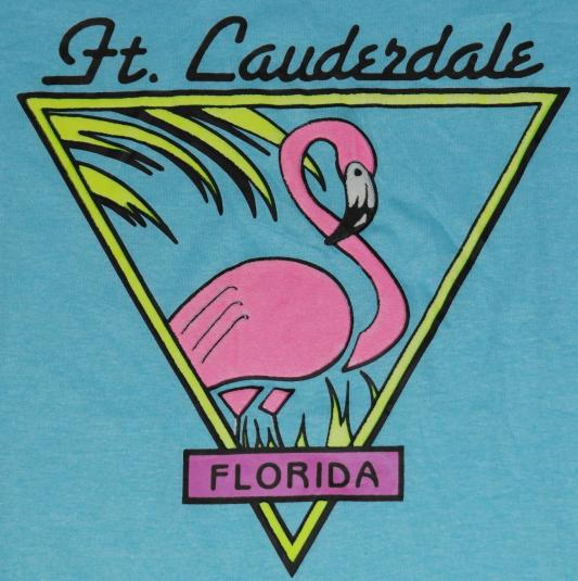 Vintage 1980s Florida Pink Flamingo Screen Stars T-Shirt