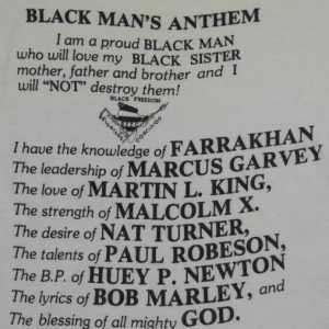VTG Black Man's Anthem BFFC T-Shirt Malcolm X Bob Marley