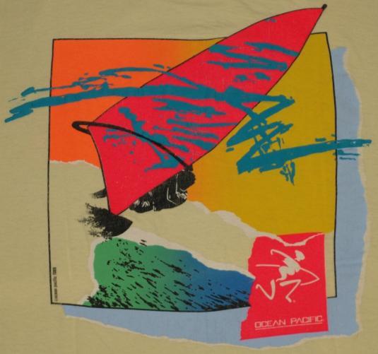 Vintage 1980s Ocean Pacific OP Wind Surfing T-Shirt 1989