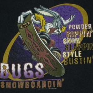 Vintage 1990s Bugs Bunny Snowboarding Snowboard T-shirt