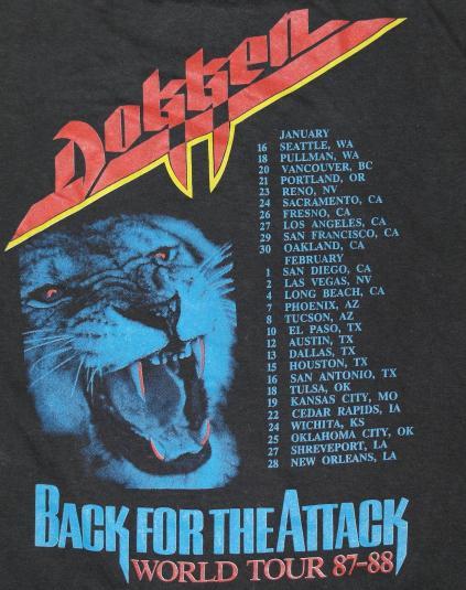 Vintage 1987 DOKKEN Back For The Attack Original Tour T-Shir