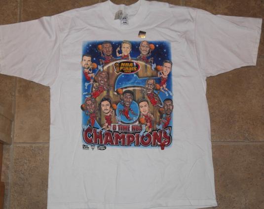 VTG 90s CHICAGO BULLS Champs Caricature T-Shirt Deadstock