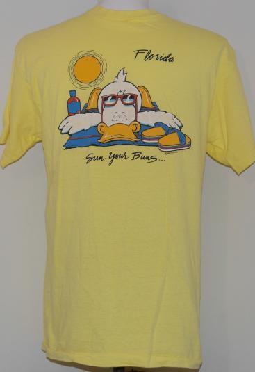 Vintage 1980's Florida Sun Your Buns Beach Bird T-Shirt