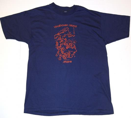 Vintage 1980s Vinalhaven Island Maine Map T-Shirt 80s