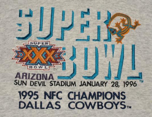 VTG 1996 SUPER BOWL XXX Embroidered T-Shirt Dallas Cowboys