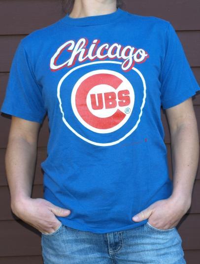 Vintage 1980s Chicago Cubs Logo Tee Shirt