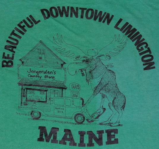Vintage 1980s Limington Maine MOOSE Green Soft Thin T-Shirt