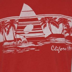 Vintage 1980s California Surfer 1985 Red T-Shirt Beach