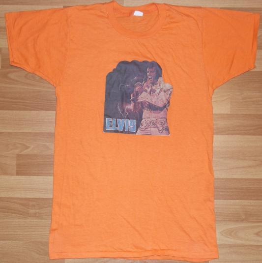 Vintage 1970's ELVIS PRESLEY Iron On T-Shirt Orange 70s