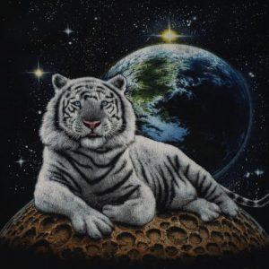 Vintage 1990s White Tiger T-Shirt Black Moon Earth Tee