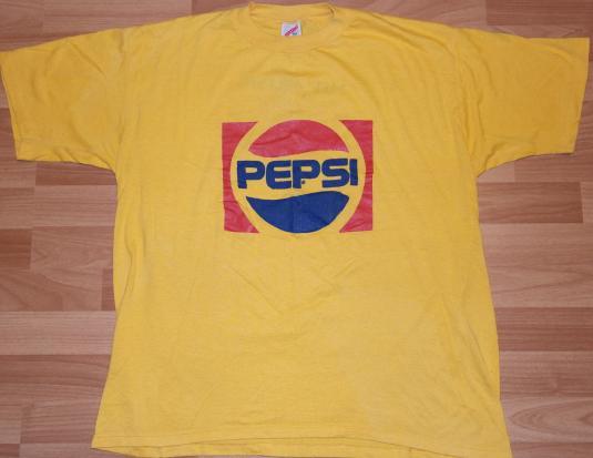 Vintage 1980s PEPSI Logo T-Shirt Yellow Soft Thin 80s